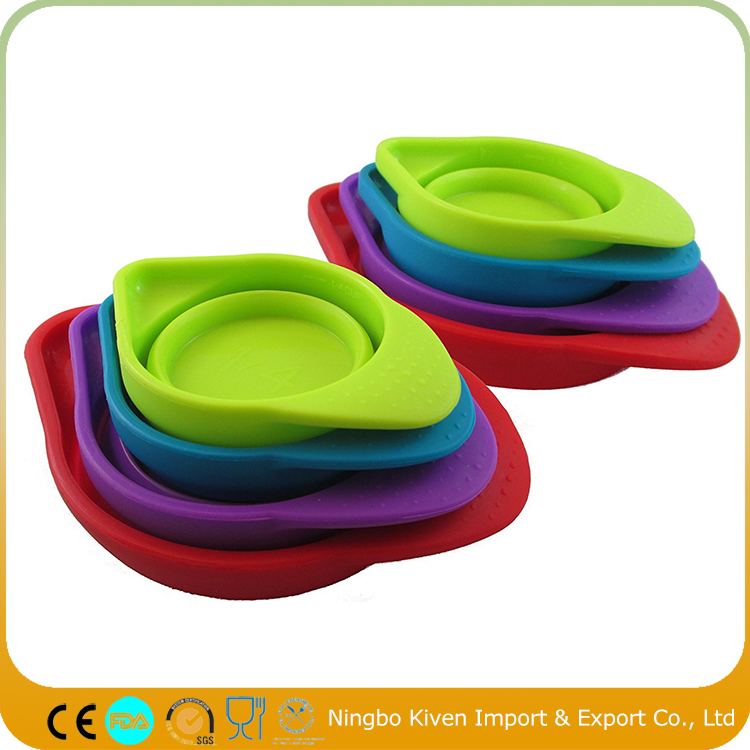 Portable Colorful Silicone Collapsible Folding Measuring Cup Set